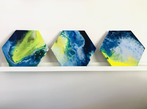 Paintings by Virginia Harding seen at Dr Beldholm - Body Contouring Surgeon, Lorn - Hexagonal Summer Series I, II & III