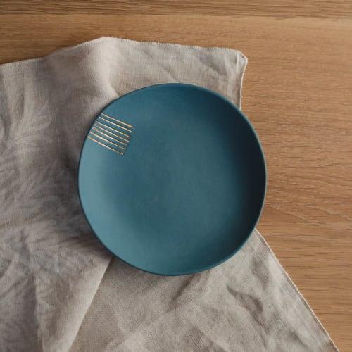Ceramic Plates by Boya Porcelain - Petra, unglazed saucer with gold