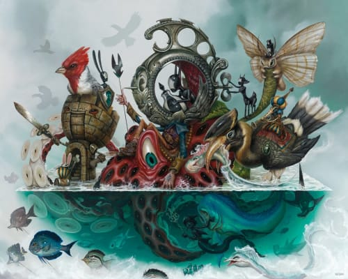 """Paintings by Greg """"Craola"""" Simkins seen at Los Angeles, Los Angeles - """"THE ESCAPE ARTIST"""""""