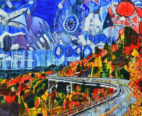 Paintings by Kent Paulette seen at Catawba Valley Medical Center, Hickory - Viaduct Painting