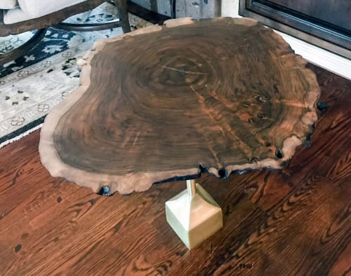 Tables by Natural Wood Edge Creations by Rick Griggs seen at Scottsdale, Scottsdale - Claro Walnut Burl Live Edge End Table with Copper Inlay