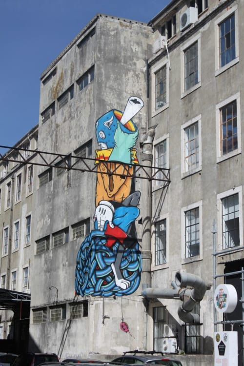 "Murals by gonçaloMAR seen at LxFactory, Lisboa - ""The Rainbow Guardian"""