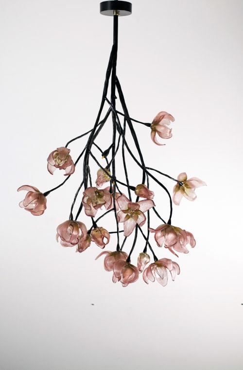 Chandeliers by Elizabeth Lyons Glass seen at Private Residence, San Francisco, CA, San Francisco - Branching Magnolia Chandelier