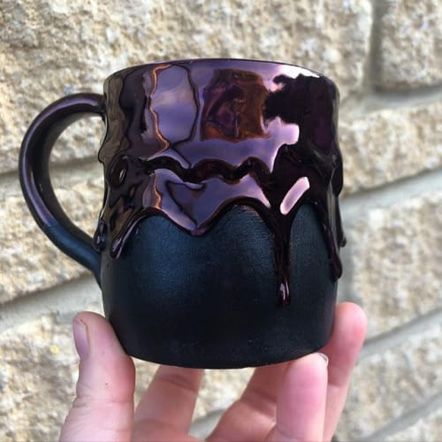 Cups by Silver Spot Ceramics seen at Private Residence, Stroud - Black and Ruby Mug