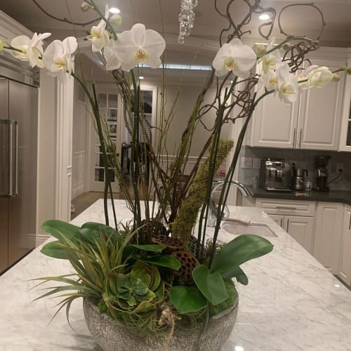 Floral Arrangements by Fleurina Designs seen at Private Residence, Los Gatos - Rustic Orchid and Succulent Arrangements
