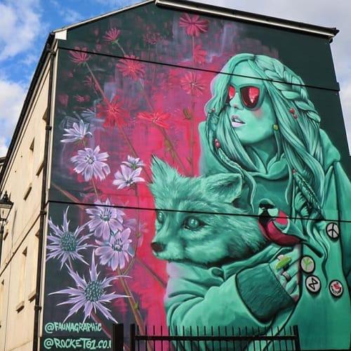 Murals by Fauna Graphic seen at Cheltenham Festivals, Cheltenham - Wall art