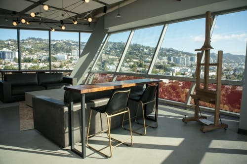 Tables by Lumberlust Designs seen at Office Building in West Hollywood, CA, USA, West Hollywood - Walnut Bar Top Tables