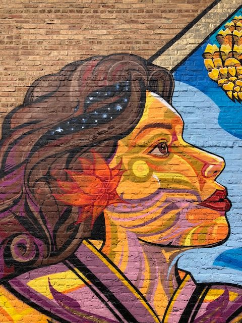 Street Murals by Miguel A. Del Real seen at 1615 W Chicago Ave, Chicago - Abrazando La Vida / Embracing Life