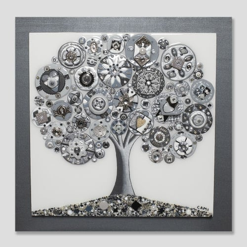"""Art & Wall Decor by Cami Levin seen at Private Residence, New York - """"Shades of Gray"""" - 20x20"""""""