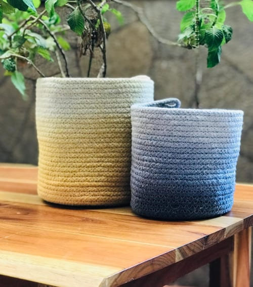 Vases & Vessels by Potli seen at Creator's Studio, Nashik - Ombre Cotton Rope Baskets