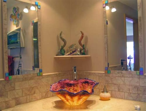 """Water Fixtures by White Elk's Visions in Glass - Marty White Elk Holmes seen at Private Residence, Estes Park - """"Caribbean Sea Shell""""  - Custom Glass Vessel Sink"""