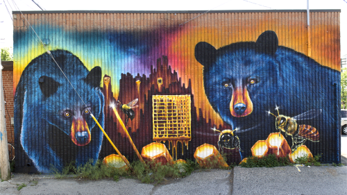 Street Murals by Nick Sweetman seen at Guan's Auto Service, Toronto - The Bears and the Bees