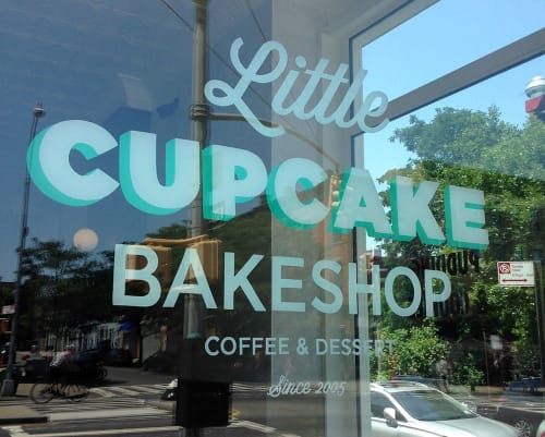 Signage by Very Fine Signs seen at Little Cupcake Bakeshop, Brooklyn - Window Lettering