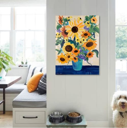 """Paintings by Mandy Martin Art seen at Private Residence, Lewes - """"Sunflowers"""" Floral Sunflower Painting"""
