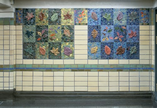 Murals by Susan Tunick seen at Prospect Park and Parkside Subway Stations, Brooklyn - Ceramic RE-Leaf 31-3