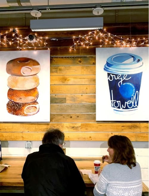 Paintings by Laurel Greenfield seen at Boston Public Market, Boston - Stack of Bagels Print