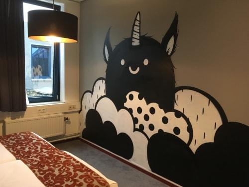 Murals by Doodkonijn seen at Teleport Amsterdam Hotel, Amsterdam - Dreaming spirits