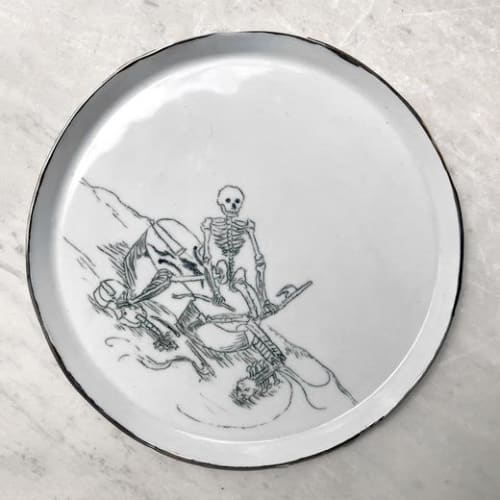 Ceramic Plates by Botticelli Ceramics seen at John Derian Company Inc, New York - Skelton Plate