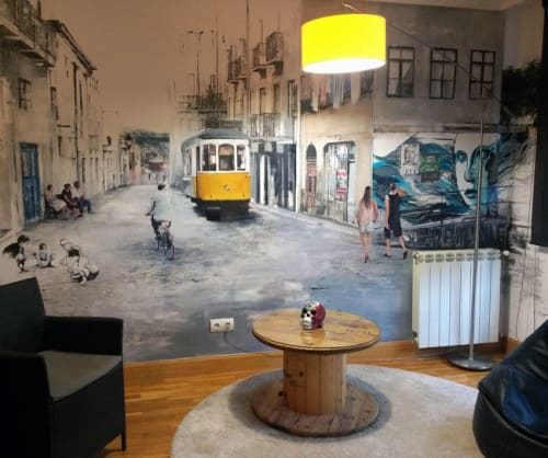Murals by Udatxo seen at Private Residence - LISBOA-PORTO