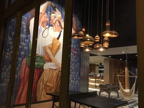 Murals by JUPITERFAB seen at Hotel ibis Barcelona Pza Glories 22, Barcelona - Mural for Ibis Hotel