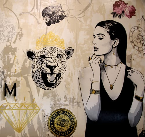 Murals by William Goodman Art seen at Beckham Jewelry Company, Jackson - Vintage Jewelry Illustration Mural