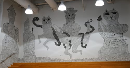 "Street Murals by Keya Tama seen at Cartoon Network Local Headquarters, Burbank - ""paper tiger"" by Keya Tama"