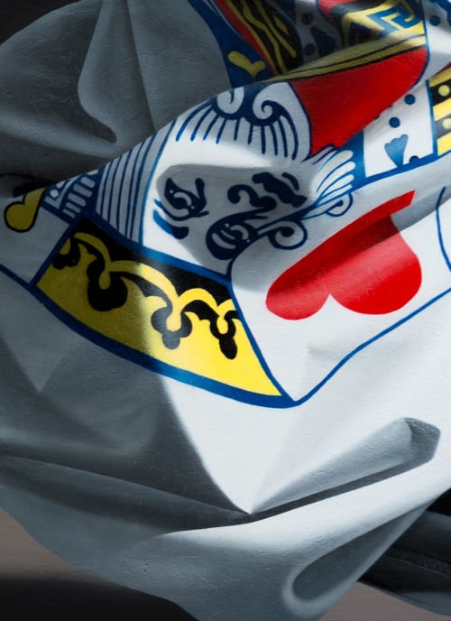 Street Murals by Nuno Viegas seen at Store Skippergate, Stavanger - Shirt Mask x King of Hearts