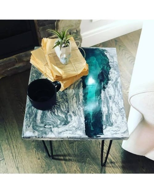 Concrete + Epoxy Resin River table | Tables by Grey Shed