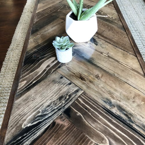 Tables by Tipsy Oak seen at Private Residence, Toronto - Hand Painted- Chocolate Walnut Herringbone Coffee Table