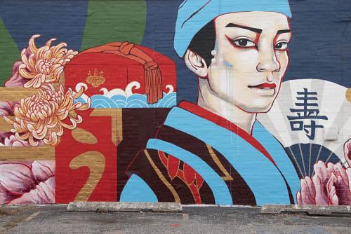 Japanese Kabuki Boy Mural: Exterior Brick   Murals by JUURI   Yuzo Sushi Tapas in Oklahoma City