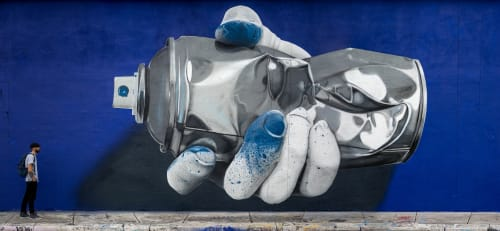"""Street Murals by Nuno Viegas seen at RC Cola Plant, Miami - """"Glove x Can I"""" - Collab with Fanakapan"""