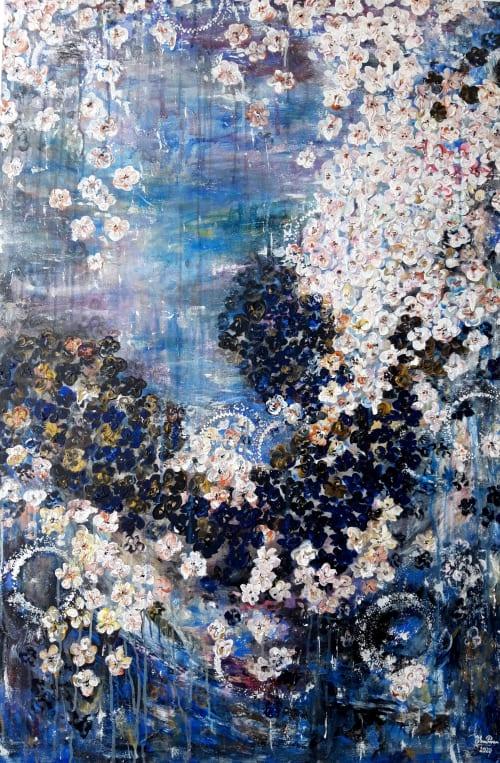 Paintings by Elena Parau seen at Creator's Studio, Bogotá - Cherry blossoms