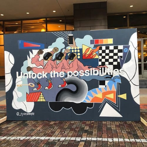 "Murals by Ryan Semple seen at Verizon Communications Inc, Lake Mary - 'Unlock the Possibilities"" Mural for Verizon"