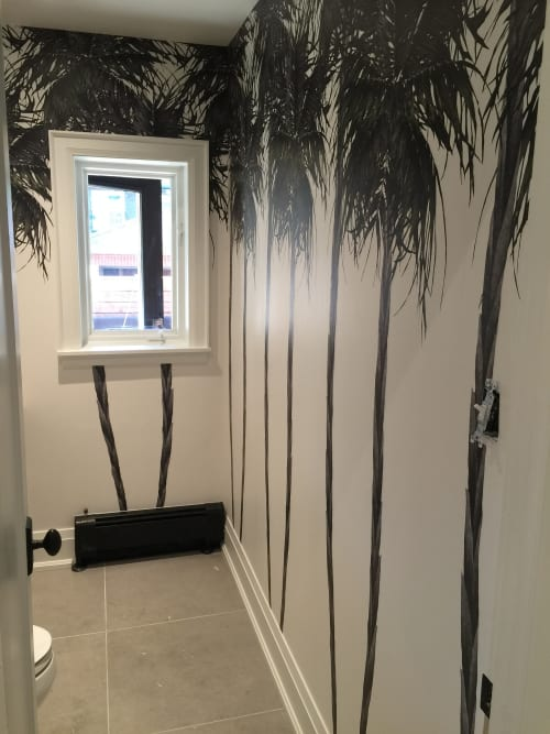 Wallpaper by Candice Kaye Design at Private Residence, Toronto, Canada, Toronto - Palm Tree Powder Room