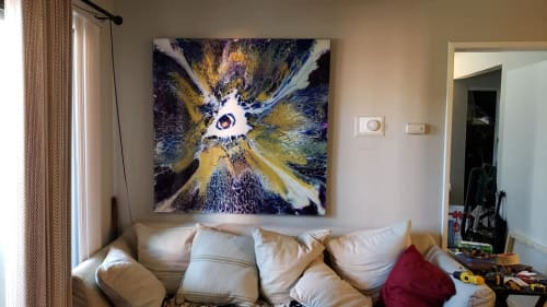 "Paintings by Michael Wicks Art seen at Private Residence, Los Angeles - Eye Of the Storm - Acrylic On Masonite - 48""x48"""