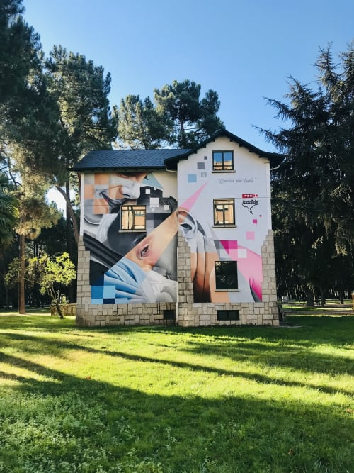 Street Murals by Asier Vera seen at Temple Park, Ponferrada, León - World breastfeeding day