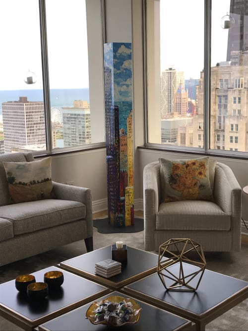 Art & Wall Decor by Sue Averell Fine Art at Private Residence, Chicago - Free Standing Urban Tower