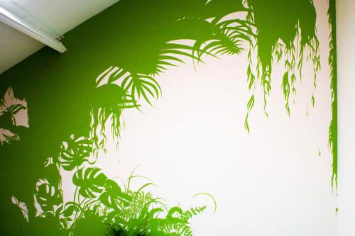 Murals by Oscar Lett seen at 17 Overbury Rd, London - Tropical jungle