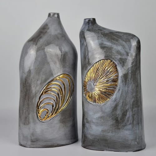 Sculptures by Anne Barrell Ceramics seen at Private Residence, Eastbourne - Large Bottle Form Shell Range