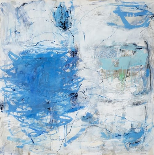 Paintings by Kate Zimmer Art seen at Private Residence, Sausalito - 'Neptune' and 'Dark And Stormy Series Little Blue Dots