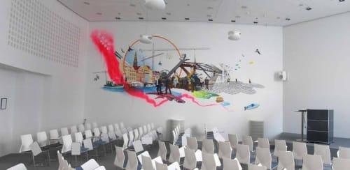 Murals by Frederik Hesseldahl - The Art of Clean seen at Dentsu Aegis Network, København - Past - Present - Future