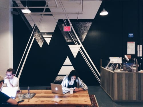 Murals by LAMKAT seen at Spreadhouse Cafe, New York - Black and White