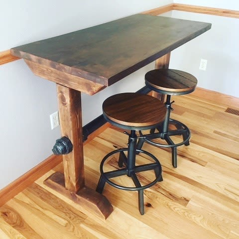 Tables by Wisconsin Farmhouse seen at Private Residence, Madison - Ironbolt Bar Height Table