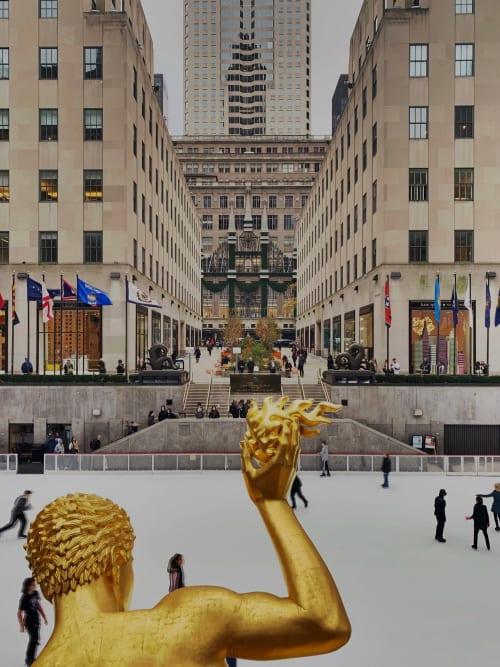 Sculptures by Paul Manship seen at The Rink At Rockefeller Center, New York - Prometheus Sculpture