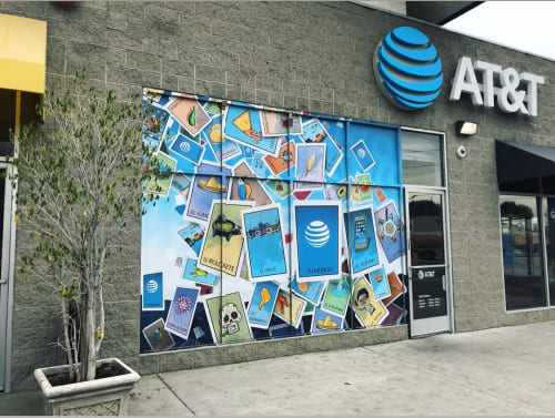 Murals by Levi Ponce seen at AT&T California, Los Angeles - AT&T - Digital Murals