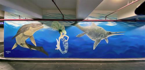 Murals by Aniko Doman seen at Neonopolis, Las Vegas - Public Art - Neonopolis Parking Garage mural