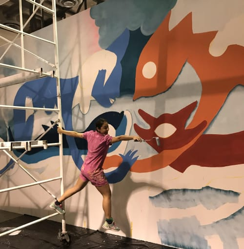 """Murals by Marisol D'Estrabeau seen at Centro de las artes, Monterrey - """"Oro líquido"""" / """"Liquid Gold"""""""