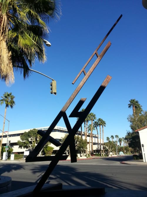 Public Sculptures by Miguel Edwards seen at Palm Canyon Drive, Palm Springs - Heaven's Lightning