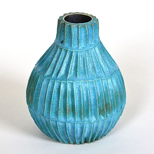 Art & Wall Decor by Christopher Maschinot seen at New York, New York - Hand carved turquoise vase