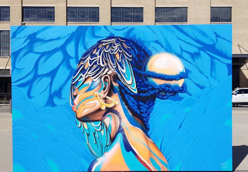 Street Murals by Taj TENFOLD seen at Concourse Avenue, Memphis - Nest
